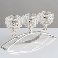 3 brazos candelabras cristal arco puente copa vela titulares tazón tealight candelero candelabros adornos románticos para la decoración de la boda del hogar