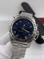2021 New 1884 Professional Mens 이중 시간대 시계 전자 포인터 디스플레이 맨 손목 시계 금속 시계 268