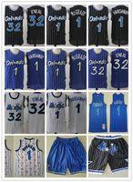 """Erkekler """"Orlando"""" Sihirli """"Gerileme Jersey 32"""" Shaquille """"O'Neal"""" Penny 1 Hardeway Tracy 1 McGrady Basketbol Şort Basketbol Formaları Siyah Mavi"""