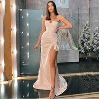 Party Dresses Elegant Champagne High Split Satin Prom Dress Sexy Spaghetti Straps Evening Gowns Saudi Arabia Pleats