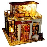 Modèle de bricolage jouet de bâtiment, librairie de style chinois avec des blocs de construction en bois léger, enfant de fête d'anniversaire, collectionnement