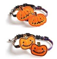Pet Halloween Cat Collar Kürbiszubehör Entfernung Hundehalsbänder mit Glocke 4 Stil T2I52524
