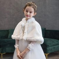 Jackets For 2 4 8 10 12 Yrs Girls Warm Ivory Bolero Winter Princess Jacket Children Soft Faux Fur Wraps Shawls Wedding Accessories