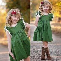 2021 Yaz Kız Elbise Kolsuz Bebek Dantel Püskül Prenses Elbise Etek Moda Yeşil Çocuklar Parti Elbise 80-120 cm H236S3M