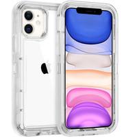 Cas de pare-chocs de l'armure 3 en 1 pour iPhone 12 11 Pro Max XR XS x 6 7 8 Plus Protection robuste transparente PC TPU TPU Coque