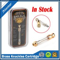 Brass Knuckles Atomizer Gold Cartridges Dual Ceramic Cotton Coil Empty 1.0ml Pyrex Glass Tank 510 Cartridge With Sticker label