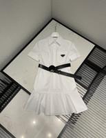 밀라노 활주로 드레스 2021 봄 여름 옷깃 넥 짧은 소매 여성 디자이너 드레스 브랜드 동일한 스타일 드레스 0301-19