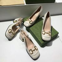Neue Frauen Designer Pumps Slingback mit Horsebit Mid-Heel 75mm Vintage Quadratische Zehe Maultiere Echtes Leder Sommer Sexy Kleid Schuhe NO273