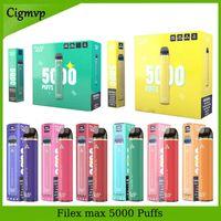 100% Аутентичные файлы Filex Max E Cigarette 5000 Puff 12 Color Аккумуляторная Одноразовый комплект Устройство 950MAH Батарея 12 мл Цена с безопасным кодом Vape Pen