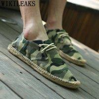 Холст обувь мужчины повседневные Espadriilles мужские мокасины летняя обувь дышащая Sepatu Slip на Pria Tenis Masculino Bona W06N #