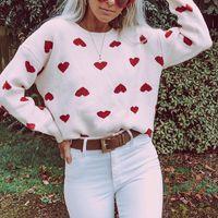 Women's Sweaters Cute Women Print Heart Love Pullover Long Sleeve Harajuku Ladies Tops O-neck Womens Clothing 2021 SJ3412T