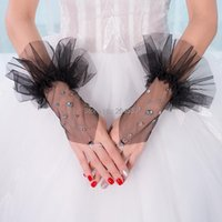 Bridal Gloves Black Wedding Party Fingerless Tulle Short With Pearls