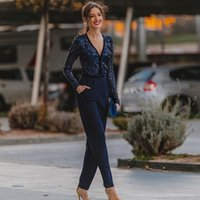 Navy Blue Jumpsuit Bridesmaid Dresses with Pockets V Neck Long Sleeve Outfit Maid of Honor Wears Sequin Top Satin Pants for Formal Gown