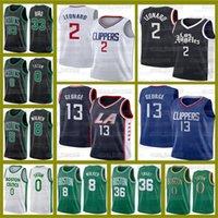 "Kawhi 20/21 2 Leonard Jayson Tatum Boston ""Celtics"" Kemba 8 Walker Larry Bird Marcus Smart Jersey La ""Clippers"" Paul 13 George"