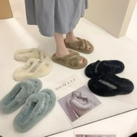 Slippers Winter Women Home Faux Fur Fashion Warm Shoes Woman Slip On Flats Female Slides Cozy Fuzzy Lady