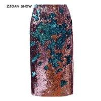 Jupes zjoan spectacle 2021 femmes gradient couleur perle de la jupe crayon paillettes Sexy taille haute packageg HIPS Party Femme Femme