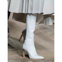 Boots nova moda na altura do joelho-botas femininas de pé aponta sapatos inverno botines mujer festa outono zapatos HVHY
