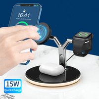 3 in 1 kablosuz şarj manyetik tutucu iphone 12 iWatch Airpods masa üstü lamba Qi 15 W indüksiyon yerleştirme istasyonu cep telefonu mıknatıs standı şarj cihazları