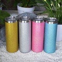 20 أوقية مستقيم بريق بهلوان الفولاذ المقاوم للصدأ زجاجة المياه العزل القهوة القدح القش معدن قيعان المطاط A02