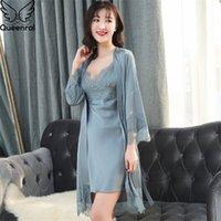 QueenraL 2 Шт. Женская лаунджное лаундж халат платье наборы спящие одежды женские спящие набор FEMME набор ночной одежды кружева домашняя одежда T200111