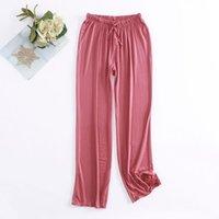 Women's Sleepwear Spring Summer Cotton Womens Pajama Trousers Bottoms Elastic Waist Sleep For Women Lounge Wear Closing Pantalones Pants 6 C