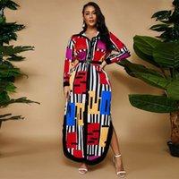 Plus Taille Robes ZJFZML ZZ Femmes Vêtements Vêtements Couleur Bloc Striepd Imprimer Blouse Robe Côté Split Chemise Robe Drop Wholesale