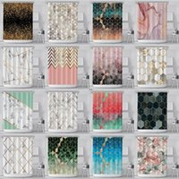 Rideau de douche de marbre géométrique 3D hexagones imprimés en polyester à motifs Rideau de salle de bain étanche avec crochet en plastique DWA3957