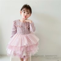 Fall winter children birthday party dress girls woolen long sleeve splicing lace tulle cake dresses kids tiered gauze princess clothing Q2780