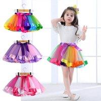Ruffle Holloween Pettiskirt Tutu Rainbow Newborn Kids New Lace Dancewear Skirt Children Princess Ballet color Skirt Dresses Clothing Tluna