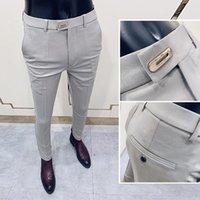 Men's Suits & Blazers 2021 Spring Autumn Fashion Solid Suit Pants Men Slim Fit Social Office Party Trousers Dress F137