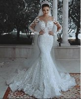 Sereia vestido de noiva moderno novo 2021 romântico lindo manga comprida beading lace princesa vestido nupcial personalizado apliques ver através de