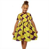 Verão Manga Curta Meninas Africanas Menina Dress Miúdos Dashiki Cera Impressão Correspondência África Crianças Vestidos Adolescentes Roupas 10 11 12Y