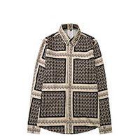 남성 캐주얼 셔츠 럭셔리 패션 남성 드레스 셔츠 골드 플로랄 프린트 코튼 실크 슬림 맞는 셔츠 의류