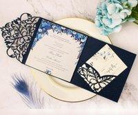 Tarjetas de felicitación 50 unids Luz rosa azul marino Blue Cut TRI-Doble Invitación de boda Sobre Personalizado Invitación RSVP