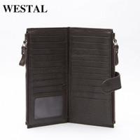 Wholesale WESTAL Genuine Leather Men Standard Wallets Man Double Zipper Wallet Mens Purse Clutch Bag Male Cowhide Leather Wallet 8057 w9es#