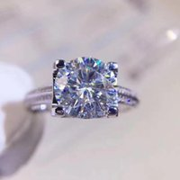 Cluster Rings 2ct Classic Moissanite Diamond S925 Sterling Silve Ring Main Stone Passed Test D Color VVS1 Women Luxury Jewelry Gift