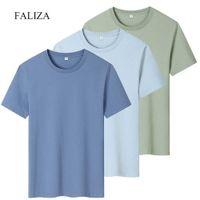100% хлопок мужская футболка новая мода сплошной цвет повседневный с коротким рукавом 3-пакет футболки летние божественные TEE мужские топы одежда TX156 Y0526