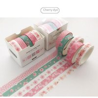 5 Pcs Green Dew  Cherry Dyeing Vine Paper Washi Tape Adhesive Tape DIY Scrapbooking Sticker Label Masking