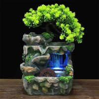 Indoor Desktop Feng Shui Rockery Fountain Decor Living Room Flowing Water Waterfall Ornament with 7-Color LED Light Change 210727