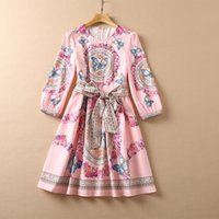 2021 Fall Autumn 4 5 Sleeve Round Neck Black   Pink Floral Butterfly Print Belted Rhinestone Beaded Sequins Knee-Length Dress Elegant Casual Dresses 21O151013