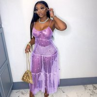 Hottest Women Sparkling Sequins Party Dress 2021 Summer New Spaghetti Strap Sleeveless See Through Y2K Long Maxi Dresses