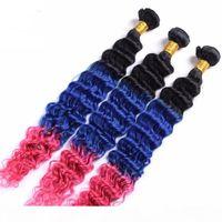 # 1B Mavi Pembe Ombre Perulu Derin Dalga İnsan Saç Demetleri Siyah ve Mavi Pembe Üç Ton Ombre Virgin İnsan Saçları Uzantıları Örgüleri