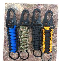 EDC Paracord Corda Keychain Acampamento Ao Ar Livre Kit de Sobrevivência Militar Parachute Cordão Nó de Emergência Chaveiro Anel de Corrente De Camping Carabiner 367 x2