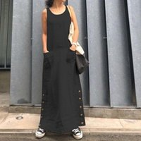 Casual Dresses Vintage Women Dress Solid Color Sleeveless O Neck Pockets Buttons Robe Loose Women's Clothing Vestido De Mujer 2021