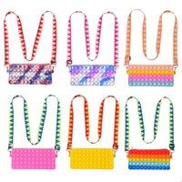 Decompression toys bubble toy coin purse fashion messenger bag shoulder bags finger bubbles handbag 2021 new