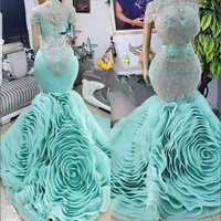 Flowers Train Mermaid Prom Dresses Mint Green Sheer Neck Lace Appliques Ruched Ruffles vestidos Plus Size Evening Dress Party rob