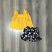 الصيف الطفل الفتيات بوتيك القطن الأطفال ملابس الكشكشة السراويل مجموعات الخردل البحرية ديزي الأزهار الاطفال الملابس