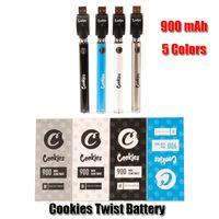 Cookies Twist Battery SF Slim 900mAh Bottom 3.3-4.8V Préchauffe VV Vape Stylo Pile Kit de chargeur USB pour une cartouche d'huile 510 épaisse