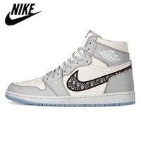 Air Jordan 1 High Og Grey Grey 2021 Мужская баскетбольная обувь Дизайнерские кроссовки кроссовки 1s тиснены на верхних кристаллических нижних корзинах