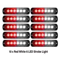 10 stücke rot + weißer Notfallblitzlichter 6-led Warnung 6-SMD blinkendes Licht VORSICHT Baulicht bar van off road fahrzeug atv suv